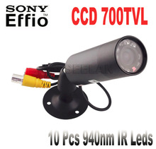 "1/3"" Sony Effio-e 700TVL CCD Mini Bullet Outdoor Invisible 10pcs IR 940NM 0 lux Night Vision CCTV Camera IR Night Vision CAMERA"
