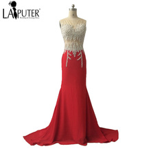 2017 Luxury Beads See Through Formal Red Evening Dresses Chiffon Long Amazing vestido de fiesta Prom Dress Party Gowns saree