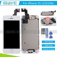 LCD For iphone 5S LCD Display Touch Screen Digitizer Assembly Frame+Gold Home Button Front Camera Ear Speaker /Tools/Glass gift