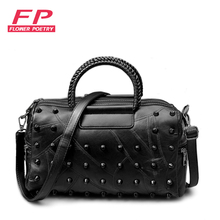 2017 New Brand Genuine Leather Women Handbag Composite Bag Sheepskin Rivet Patchwork Women Shoulder Bag Fashion Crossbody Bag