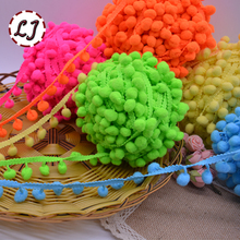 new hot sale 5yd/lot 25mm width colorful PP ball elastic lace ribbon tassel trim sewing material accessories for home decoration