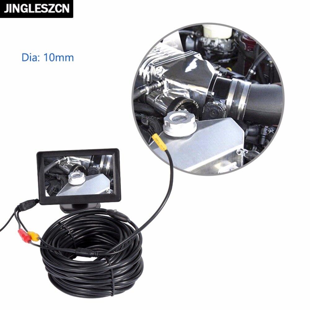 JINGLESZCN AV Endoscope Mini Camera 12V 10mm Lens Dia 1m/5m/10m/15m/20m Length PAL Waterproof Snake Inspection Borescope Cam New<br>