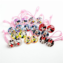 1Pairs=2pcs New Lovely Hair rope Cartoon Mickey Minnie Hair ring Hair Accessories Girls Elastic Hair bands Children Gift(China)