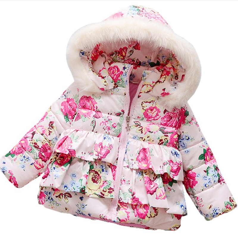 1 Pc Free Shipping Girls Cotton Winter Models Child Thicken Cotton-padded Jacket Coat Wear A Hat Kids ATST0190Одежда и ак�е��уары<br><br><br>Aliexpress