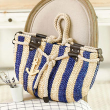 LJT 2017 Summer Navy Wind Vertical Striped Shoulder Bag Woven Tote Beach Handbags Luxury Designer Casual Travel Shopping Bolsos(China)