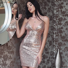 2017 Spring Summer New Sexy Women Sleeveless Backless V-Neck Sequins Dress Evening Party Bodycon Slim Mini Dress Paillette Feb7