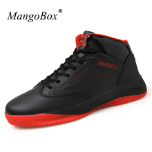 Men Basketball Shoes 2016 Leather Mens Athletic Shoes Basketball Trainers Black/Blue Mens Court Sport Shoes Basketball Man(China)