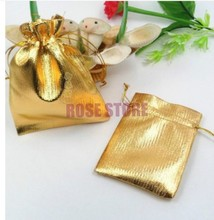 Wholesale 500pcs/lot Small Gold Plated Satin Gift Bag 7x9cm Christmas/Wedding Jewelry Gift Packaging Bags With Drawstring