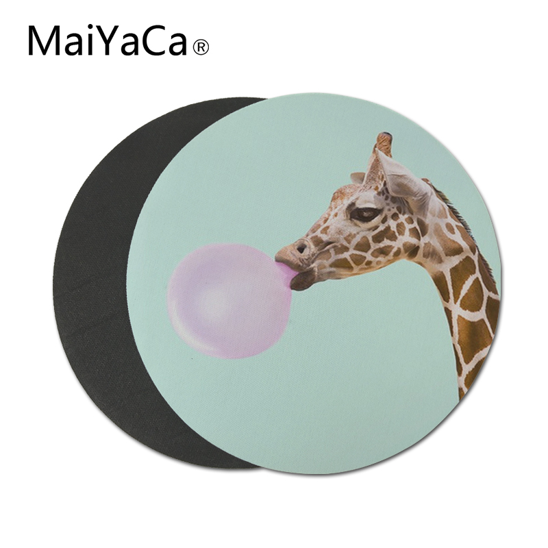 Funny Giraffe Mouse Pad Round Mat (1)