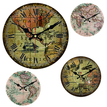 World Map Large Decorative Round Wall Clock Living Room Wall Decor Saat Fashion Silent Vintage Watch Wall For New Year Cheap