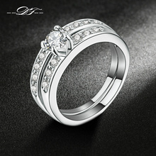 Silver Color 2 Rounds Bijoux Fashion Wedding & Engagement Ring Set AAA+ Cubic Zirconia Jewelry For Women As Gift DFR592