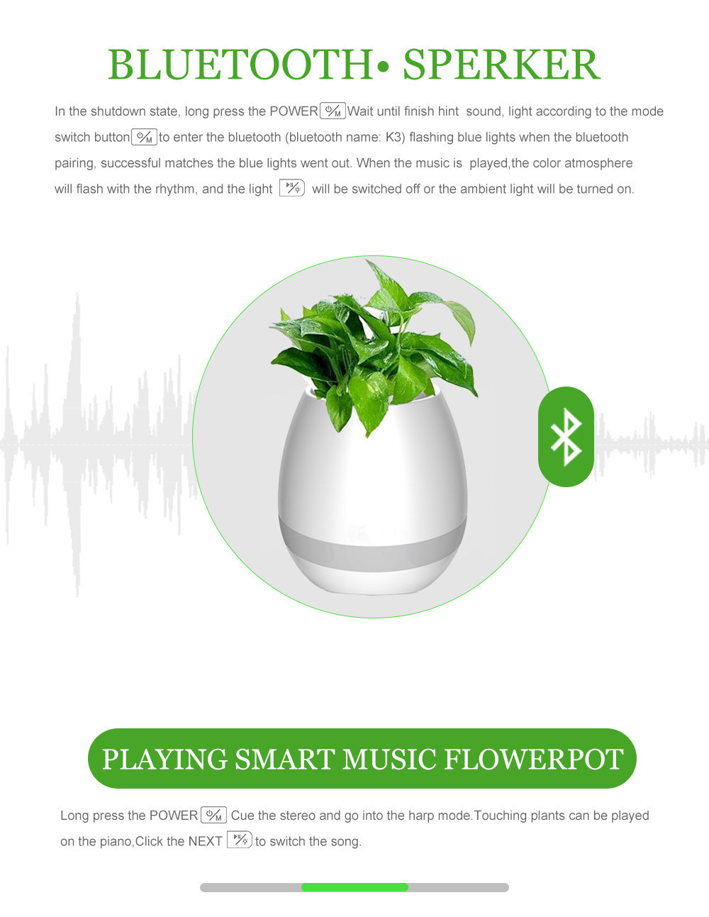New 2017 Bluetooth Smart Music flowerpot Speaker Intelligent Touch Plant Piano Music Flower Pot with colorful LED Night Light