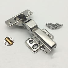 304 stainless steel damping hydraulic buffer pipe hinge Hardware cabinets wardrobe door furniture hinge 6pcs(China)