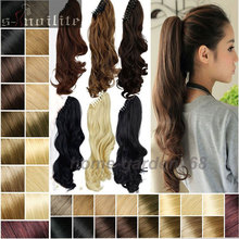 Easy Attach Claw Ponytail Hair Piece 18/22 Inches Clip in Pony tail Hair Extension Wrap on Hairpiece Curly/Wavy Black Brown