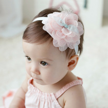 1PCS 2016 Children New Korean Girls Hair Accessories Baby Elastic Lace Flowers Headbands Newborn Infant Hair Bands Kids Headwear