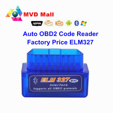 Factory Price Car Diagnostic Scanner ELM327 V2.1 OBDII Code Reader MINI ELM 327 Bluetooth Scanner Works On Android/PC/Symbian