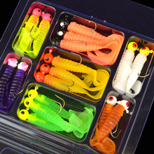 17Pcs/Set Soft Fishing Lure Lead Jig Head Hook Grub Worm Soft Baits Shads Silicone Fish Lures Set Fishing Tackle