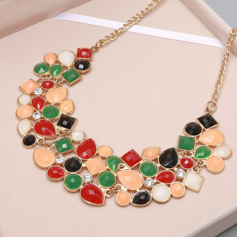 MINHIN New Popular Colors Multicolor Big Pendant Clavicle Chain Necklace Women's Delicate Banquet Jewelry 6