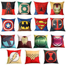 Printed Super Hero Square Cushion Covers Superman Batman Captain American Pillow Case Sofa Chair Car Deco Throw Pillow covers(China)