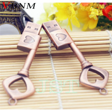 VBNM Metal heart key USB flash drive U disk heart-shaped copper key pendrive 4GB 8GB 16GB 32GB  pen drive memory stick wholesale