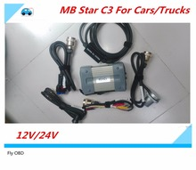 Top 12v/24v For MB Star C3 Full Set With 5 Cables Auto Diagnostic tool MB C3 without HDD for mb star c3 Support for cars/trucks