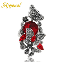 Ajojewel 2017 New Arrival Austrian Crystal Butterfly Flower Ring Big Womens Rings Bagues Femmes Chic(China)