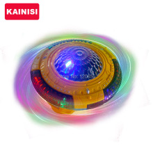 Free shipping Light-Up Rotate Spinning Top UFO with Sound Music Color Flash LED Lighting Gift for Kids Child light up Vocal Toy
