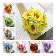 6pcs/lot 11colors Silk Cherry Blossoms Small Artificial Poppy Bouquet Wedding Decoration Mini Rose Flowers For DIY Scrapbooking