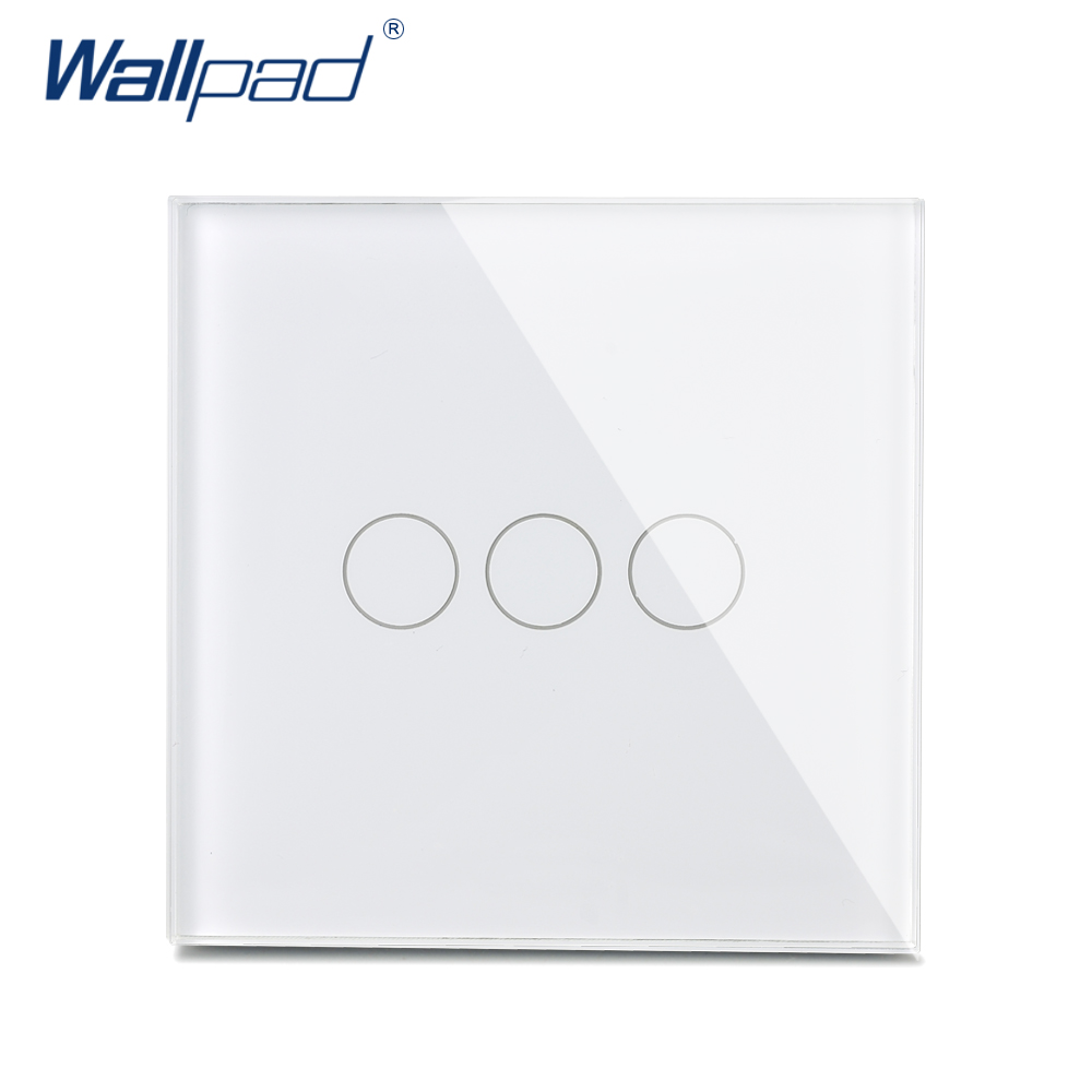 New Arrival Wallpad Luxury Crystal Glass Wall Switch Touch Switch 3 Gang 2 Way UK Switch AC 110-250V White/Gold/Black<br><br>Aliexpress