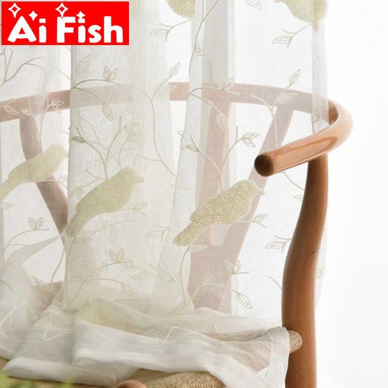 White Bird 3D Embroidery Drape Sheer Window Rustic Curtains For Bedroom Cotton Curtain fabric Tulle Home Textile Voile AP004-30