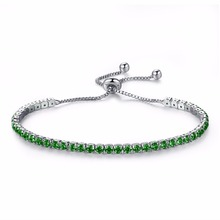 Cubic Zirconia Tennis Bracelet For Women  Length Adjustable Box Chain Jewelry Gift White/Black/Blue/Purple/Green DS970