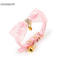 SYDZSW Small Dog Pet Cat Collar Leads Top Grade Glitter PU Bell Cat Leather Collar Luxury Chihuahua Necklace for Cats Yorkshire