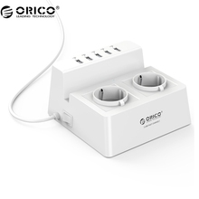ORICO ODC-2A5U-V1 Smart Charging Desktop Charger with 2 AC Outlets and 5 USB Ports for Phones,iPhone 7,Tablets and Desktops