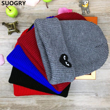 Hot Unisex Winter Knit Hat Skullies Beanies Women's Girls Gorro Piles Caps Heart Eyes Pattern Touca Bonnet Hip-Hop Hats Headwear