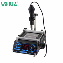 YIHUA 853AA 220V LCD Adjustable Electronic Heat Hot Air G un PCB preheat and desoldering IR preheating BGA rework station(China)