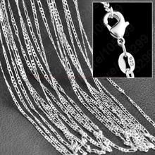 "Buy JEXXI Wholesale 10PCS Lot Figaro Chain 925 Sterling Silver Jewelry Necklace Chains+Lobster Clasps Size 16,18,20,22,24,26,28,30"" for $3.47 in AliExpress store"