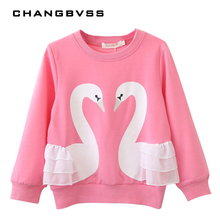 New Fashion Casual Baby Girls Sweatshirt,Spring Autumn Cotton Swan Printing Lace Long Sleeve T-Shirts,Children Clothing Blouse(China)