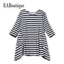 EABoutique Girls Clothing 2017 spring&autumn striped casual style long sleeve kids girls dress for 2-7 yeas old