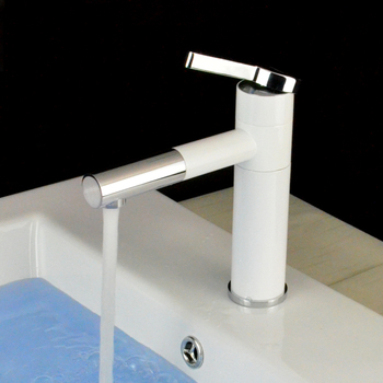 Basin Faucets Grilled White Porcelain Body Rotation Spout Brass Mixer Faucet Chromed Polished Tap
