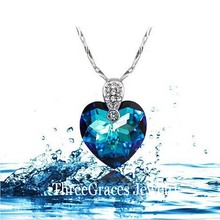 ThreeGraces Heart Of The Ocean 925 Sterling Silver Ocean Blue Austrian Crystal Element Necklaces Pendants For Women PN047