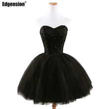 Edgension New Fashion 2017 Spring Summer Party Bridemaid Beading Lace Up Organza Dress Women Black White Red Tube Top Ball Gowns
