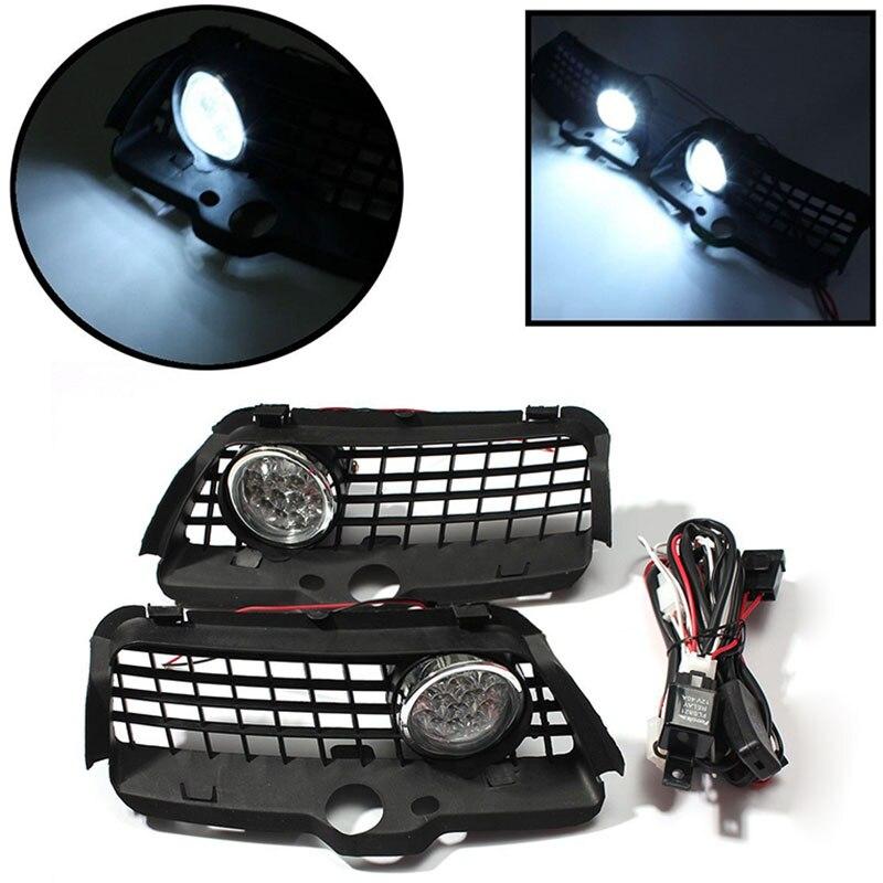1 Pair 12V LED Fog Light DRL Driving Bumper Grille Super Bright White Lamp 6000K For VW Volkswagen MK3 Golf Jetta 1992 - 1998<br>
