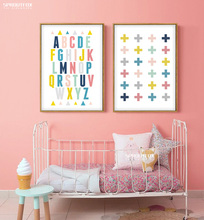 Colorful English Alphabets Typography Poster Kids Nursery Print Art Wall Photo Oil Painting Canvas Art Prints Baby Room Decor