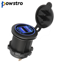 Powstro 12V/24V Dual USB 4.2A Car Charger Cigarette Lighter Socket Splitter Power Adapter Outlet For Mobile Phone iPod GPS(China)