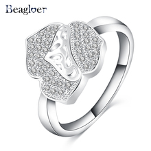 Beagloer Trendy Flower Design Rings White Gold Color Top Class Rhinestones Eternity Love Wedding Bands Ring Jewelry CRI0105-B