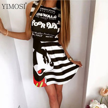 YIMOSI Womens Summer Dresses 2017 Sexy Cartoon Mickey Mous Miki Print Bandage Party Vestidos Female Evening Club Mini Dress