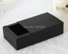 DIY recycled black kraft jewelry boxes and packaging,sliding gift drawer boxes outside size 12*12*2.2cm