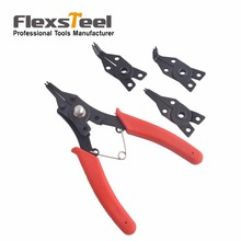 Flexsteel 4 in 1 Circlip Plier Set Circlip-Snap Ring Plier Set Including 4 heads Internal External Straight 45 90 Tips