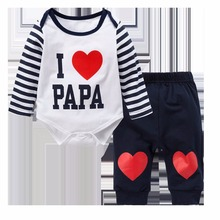 Autumn Newborn Baby Boys Girls Long Sleeve Clothes Romper Sweet Heart Printed 2Pcs Outfit Set(China)