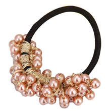 Women Fashion Rhinestone Crystal Pearl Hair Band Rope Elastic Ponytail Holder 2017 Hot product discount beauty(China)